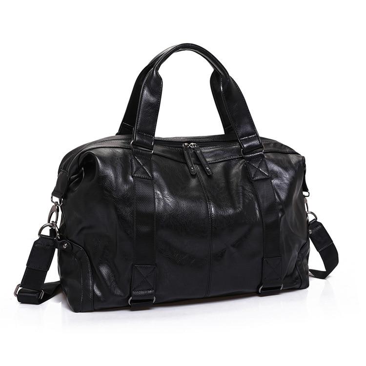 2019 남자에 대 한 새로운 도착 분할 가죽 여행 가방 대용량 휴대용 남성 어깨 가방 남자 핸드백 캐주얼 여행 가방-에서여행 가방부터 수화물 & 가방 의  그룹 1