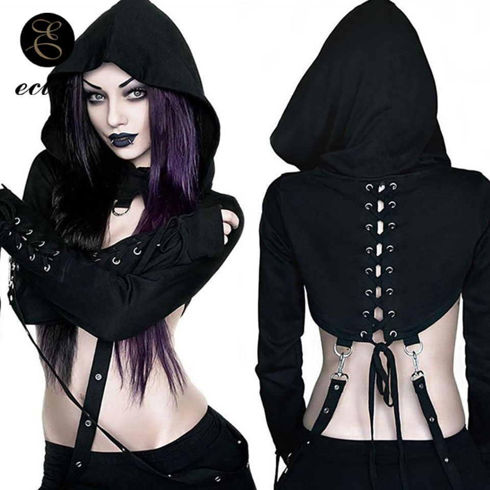 Rrive Womens Long Sleeve Zip Up Punk Goth Plus Size Sweatshirts Hooded Tops
