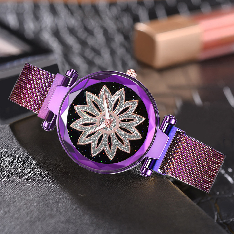 Luxury Brand Purple Women Watch Fashion Casual Crystal Dress Wristwatch Ladies Quartz Watch Female Flower Clock Reloj Mujer in Women 39 s Watches from Watches