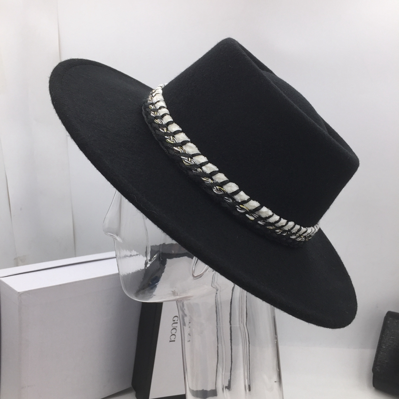 Classic black wool  Flat brim hat fashion wide brim bump hats for men and  women leisure felt hat Fedoras-in Fedoras from Apparel Accessories on ... 774bc4a4a28