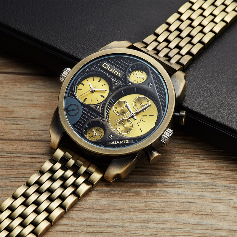 Oulm Luxury Brand Big Watches Men Unique Designer Two Time Zone Male Clock Large Dial Fashion Men's Military Wristwatches oulm men dual movt big dial japan luxury military watches men stainless steel strap wristwatches male golden clock