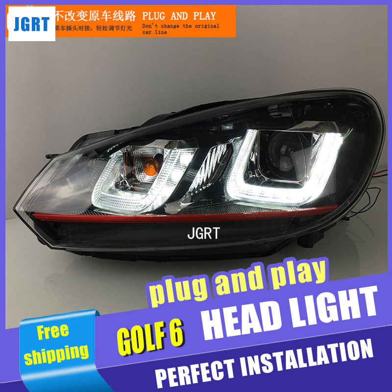Car Styling Golf 6 headlights for VW Golf6 led headlight Volks wagen led drl turn signal drl H7 hid Bi-Xenon Lens low beam pair of headlight assembly for vw golf 5 suitable for halogen bulbs and led headlights