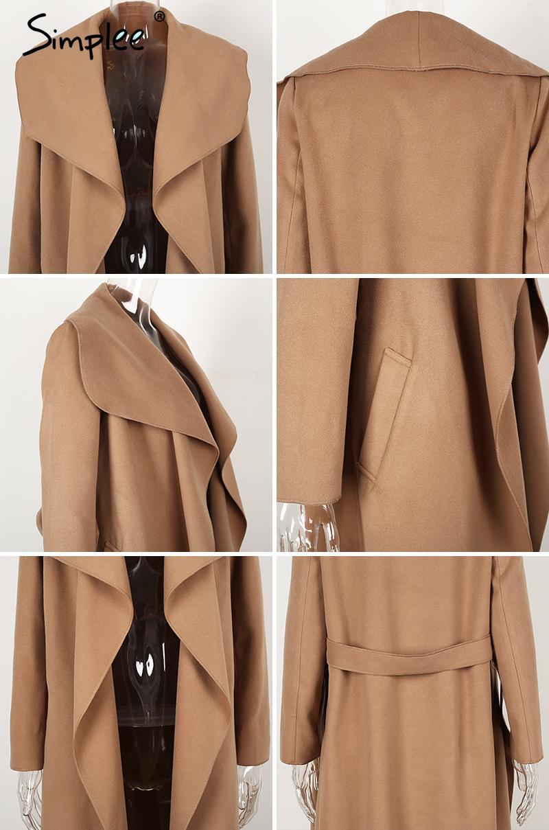 Simplee Black ruffle warm winter coat Women turndown long coat collar overcoat female Casual autumn 16 pink outerwear 15