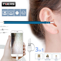 Fuers 3 IN 1 Otoscope Endoscope Camera 720P HD Visual Ear Spoon EarPick Ear Cleaner Cleaning