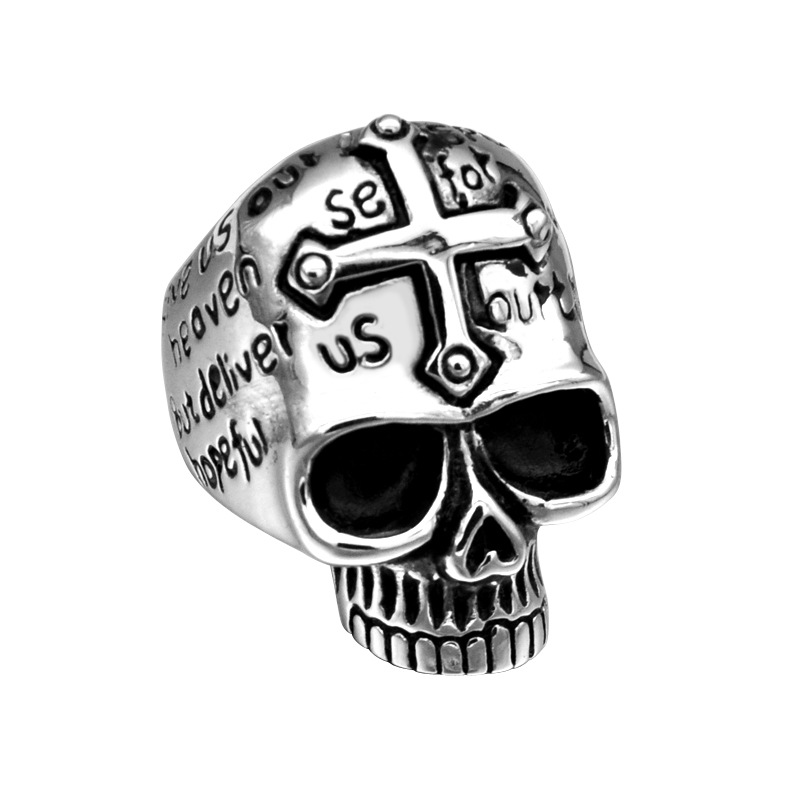 Punk Stainless Steel Skull Head Biker Finger Rings Punk Jewelry With Cross Ring Size 8-13