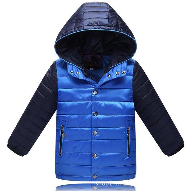 Baby Boys Clothes New Brand Arrivals 2017 Fashion Patchwork Hooded Warm Jacket Casual Cotton Childrens Outwear Down Parka Coat