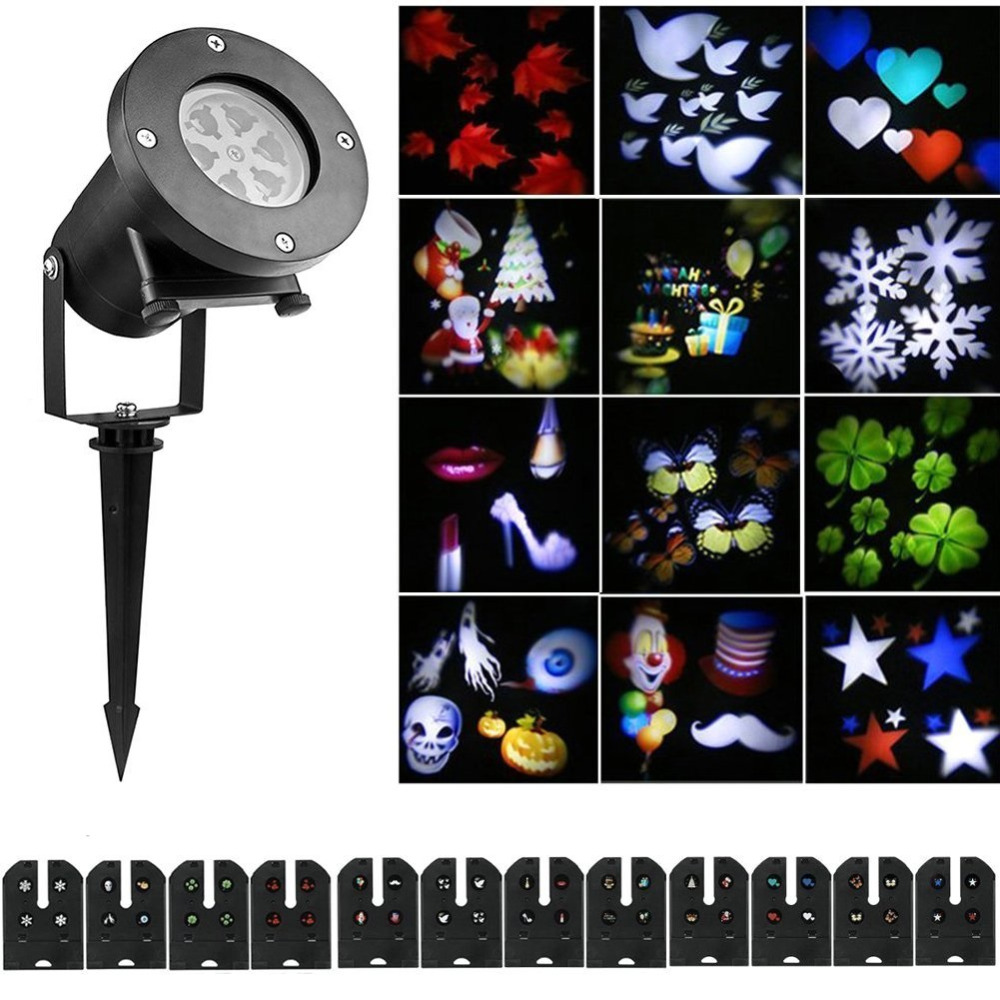 Christmas Halloween Decoration LED Moving Snowflake 12 replaceable pattern Projector DJ Stage Light for Garden Outdoor Landscape plastic standing human skeleton life size for horror hunted house halloween decoration