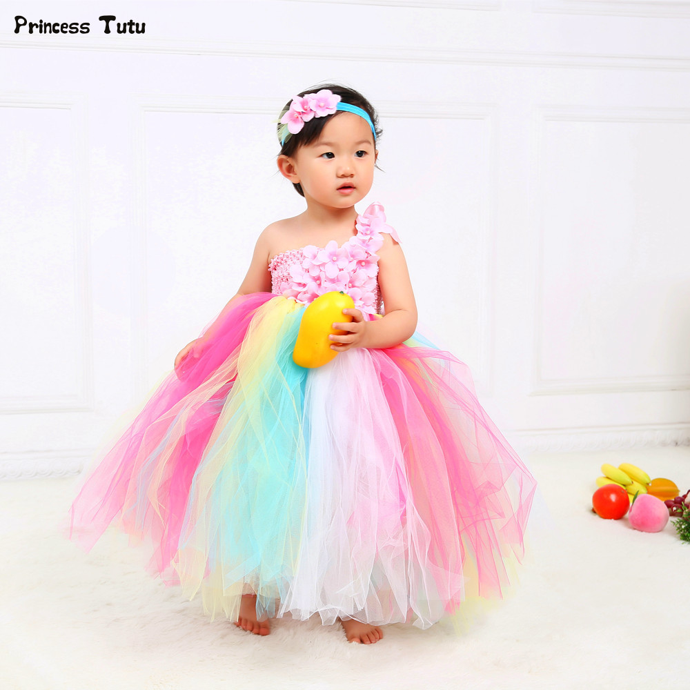 Rainbow Girl Party Dress Ankle Length Flower Girl Dresses Wedding Ball Gowns Tulle Kids Princess Tutu Dresses for Girls Vestidos