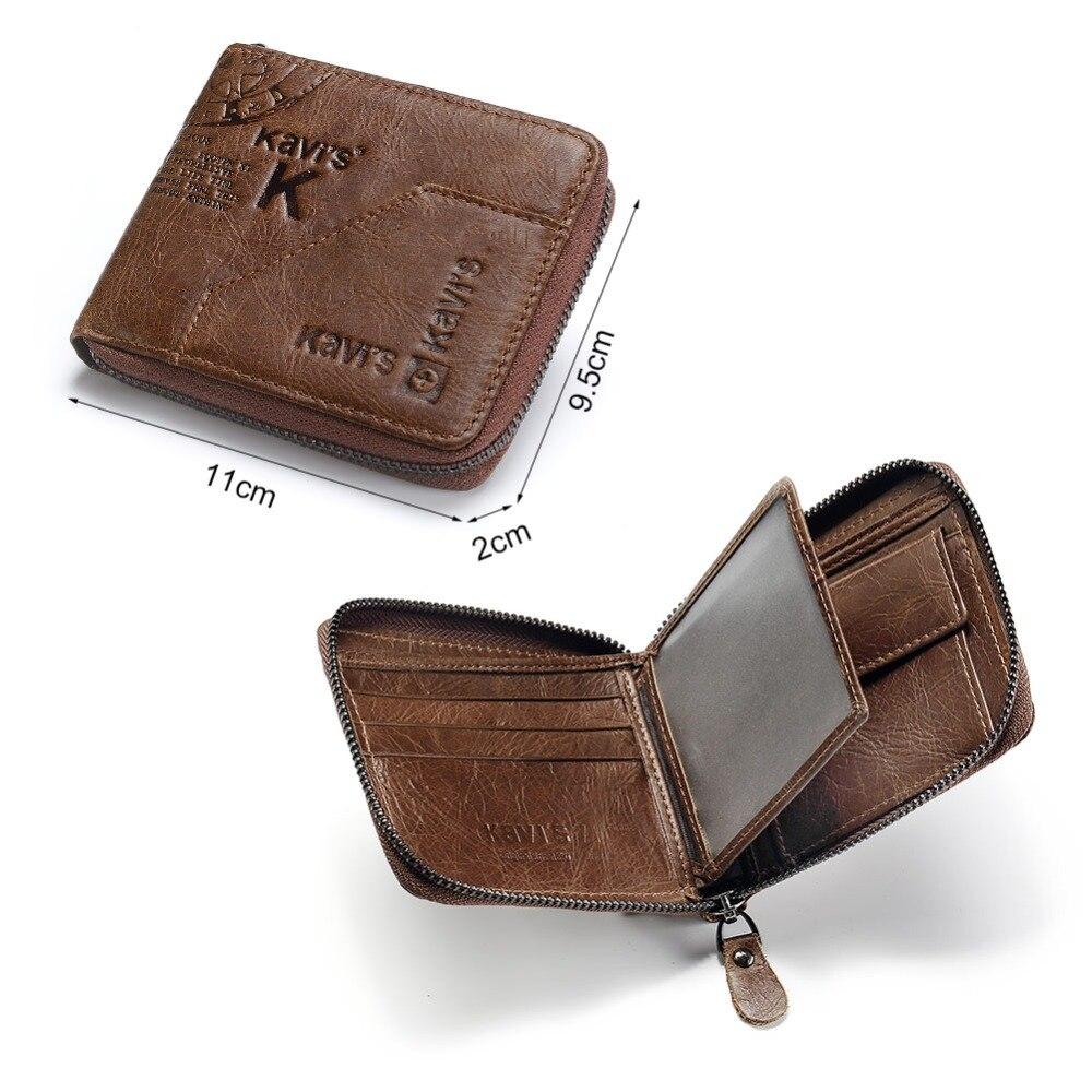 KAVIS 100% Genuine Leather Wallet Men Coin Purse Male Cuzdan Small Walet Portomonee Rfid Mini PORTFOLIO Vallet Perse Card Holder