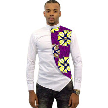 Personality design tops private custom african clothing long sleeve shirt white cotton and print batik patchwork dashiki clothes
