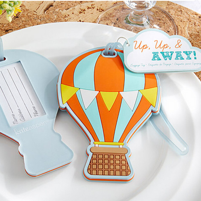 60pcs/Lot NEW Wedding Favors Up, Up & Away Hot Air Balloon Luggage Tag Rubber Luggage Tags Bridal Shower Favor FREE SHIPPING