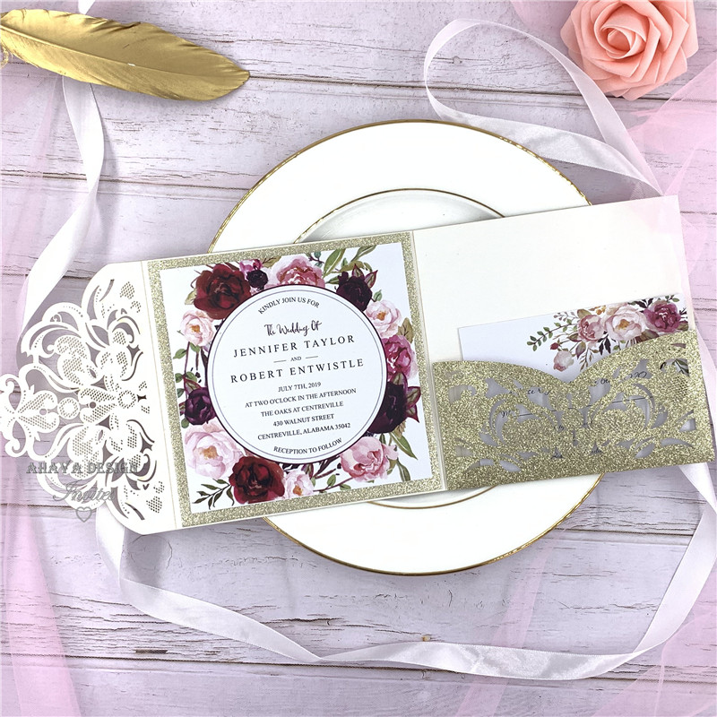 Luxury Champagne Gold Glitter Tri Fold Laser Cut Pocket Wedding Invite With Belly Band