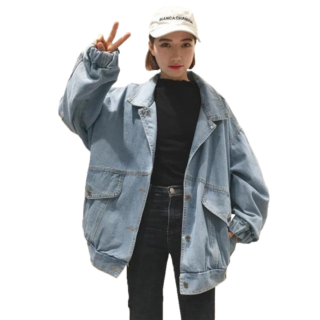 Women Oversized Denim Jackets Harajuku Letter Embroidery Patch