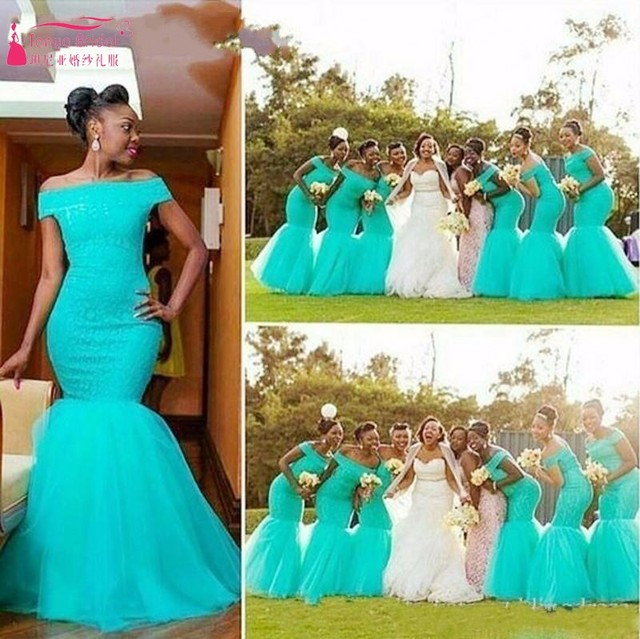 74e05f205a1 South Africa Nigerian Bridesmaid Dresses Plus Size Mermaid Maid Of Honor  Gowns For Wedding Off Shoulder Turquoise Tulle Dress