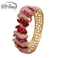 XY Fancy New Fashion Retro Hollow Refined Rhinestone Bangles Flower Shape Elegant All Match Wide Type