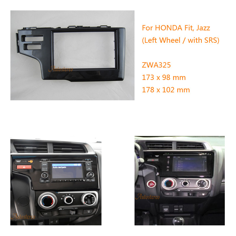 цена на Car Radio Fascia multimedia Frame Kit For Honda Fit Jazz(Left Wheel/With RSR) 2013+ Facia Panel Trim Dash CD