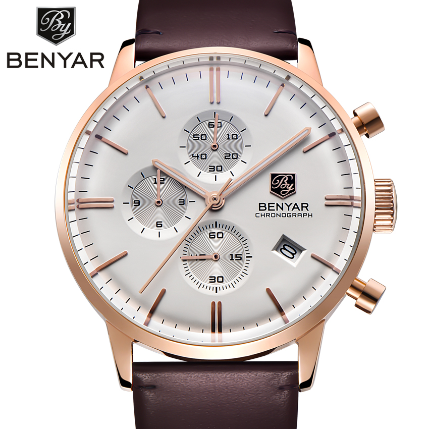 Men's Quartz Luxury Watches Mens Chronograph Watches Fashion Casual Watch Of Men BENYAR Steel Free shipping Relogio Masculino цена