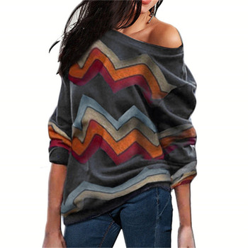 Striped Sweater Print Off Shoulder Pullover10