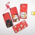 Teste padrão japonês lucky cat soft case para iphone 6 6 s 6 plus 7 7 além disso tpu capa