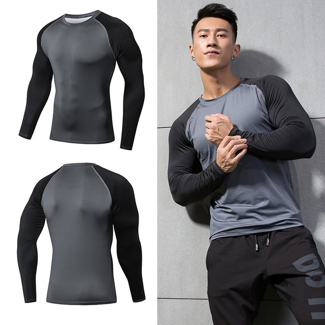 Raglan Sleeve 3d Printed tshirts Solid Color Compression Shirts Long Sleeve T Shirt Fitness Men Workout Bodybuilding Tops