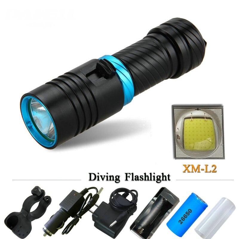 Cree XM-L2 18650 o 26650 buceo linterna LED linternas submarinas impermeable portátil luces de linterna buceo antorcha lámpara de luz