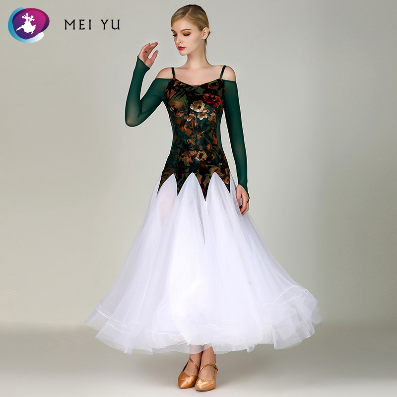 Ballroom Cooperative New Mei Yu My795 Modern Dance Costume Women Ladies Dancewear Waltzing Tango Dancing Dress Ballroom Costume Evening Party Dress Curing Cough And Facilitating Expectoration And Relieving Hoarseness Novelty & Special Use