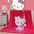 Textiles para el hogar, hello kitty rosa roja estrella globo cómodo coral fleece mantas para colchas ropa de cama puede ser como hoja de cama