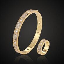 Theresa Luxe Merk Volledige Micro Pave Instellen Zirkoon Liefde Bangle Met Ring Set Klassieke Armband Mode sieraden Voor Iedereen Zelf
