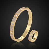 Theresa luxury brand full micro pave setting zircon love's bangle with ring set classic bracelet fashion jewelry for everbody