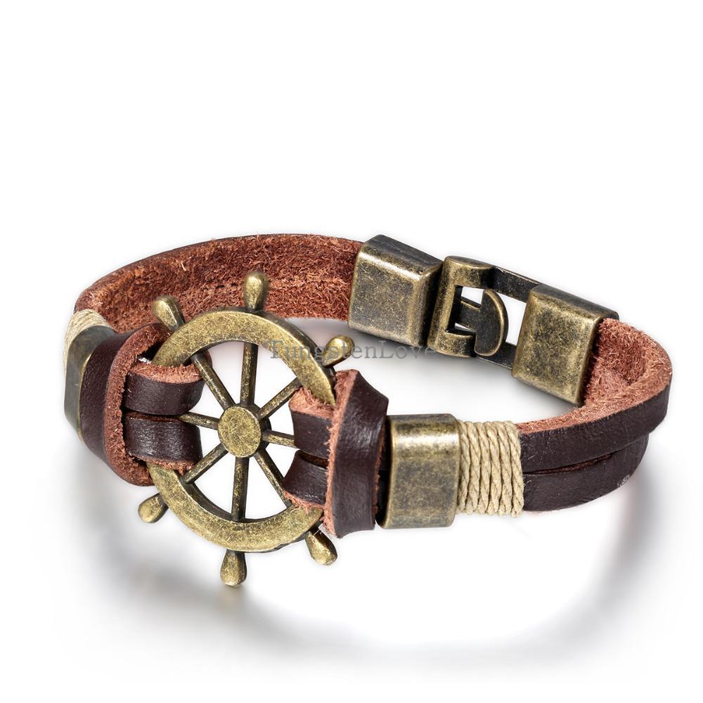Men Jewelry Pirate Style Bronze Genuine Leather Rudder Bracelets Wholesale Cuff Braided