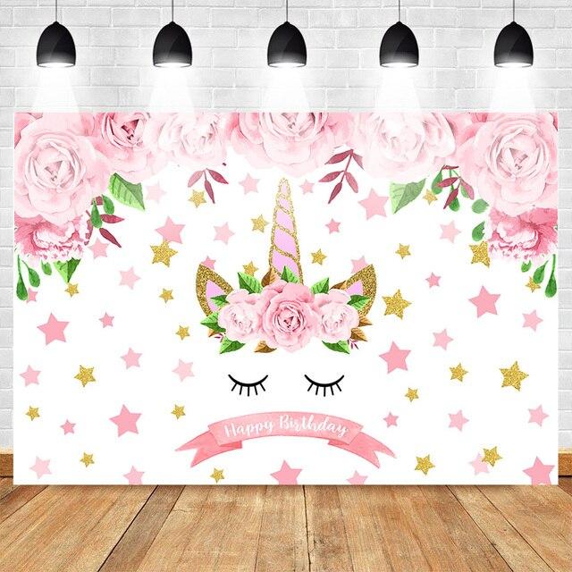Pink Unicorn Birthday Backdrop Girl's Unicorn Party Glitter Stars Floral Photo Background Cake Table Birthday Decorations