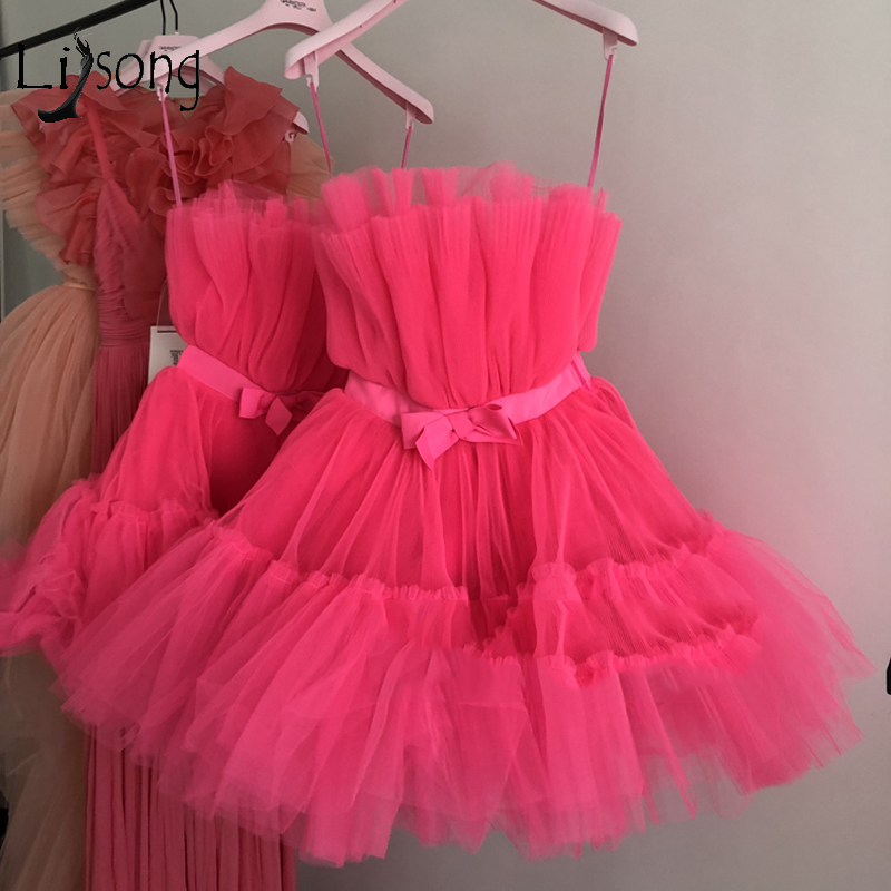 Pretty Fuchsia Tulle Mini   Cocktail     Dresses   2019 Ruffles Short Prom Gowns Off The Shoulder Robe De   Cocktail   Homecoming   Dress