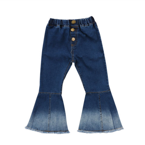 Kids Baby Girls Soft Denim Bell Bottom Boot Cut Pants Jeans Hit Color Wide Leg Trousers