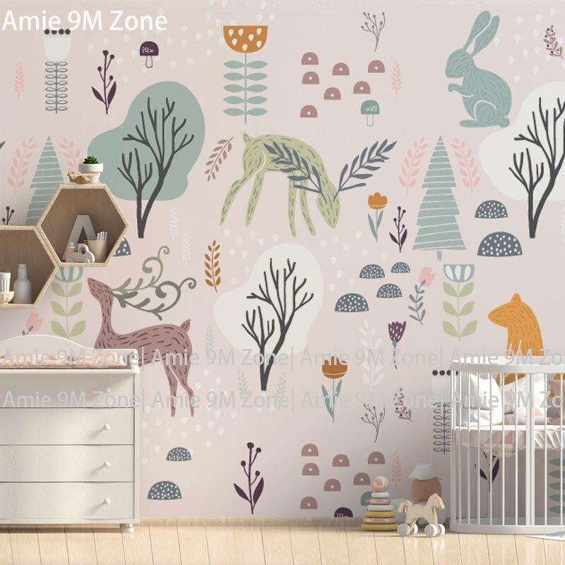 ضوء كريم خلفية الكرتون تصميم زوون أشجار الحيوانات تخصيص حجم جدارية خلفيات حائط الخلفية الطفل أوراق