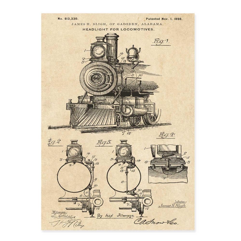 vintage train patent art locomotive steam engine coupler poster 5 in 1 train  sketch up nursery
