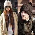 Adult Women Men Cable Wool Pom Poms Crochet Knitted Winter Warm Beanie Hat Cap Black
