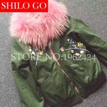 2016 fashion new autumn winter women high-quality military green & black raccoon fox fur flowers embroidery bomber fur jacket