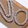Frete Grátis Atacado Set Bijuterias, Camarão fivela 2 Peça set, 925 Colar de prata Esterlina & Bracelet & brincos T045