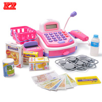 Children Pretend Play Supermarket Cash Register Kids Electronic Toys Set With Foods Basket Money Learning Education
