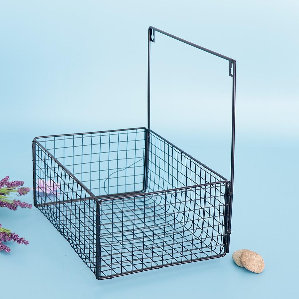 Nordic Iron Wire Wall Hanging Storage Basket Kitchen Bedroom Sundries Snacks Organizer Basket Black Storage Baskets Aliexpress