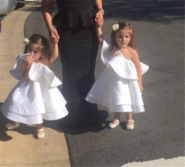New Baby Girls Dresses One Shoulder Satin Flower Girls Dresses Christmas Dress Girls First Birthday Gown