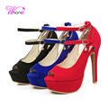 2017 New Fashion Woman's Sandals Thin High Heel Peep-toe Buckle Ankle Strap Flock Platform Casual Party Daily Summer Lady Shoes