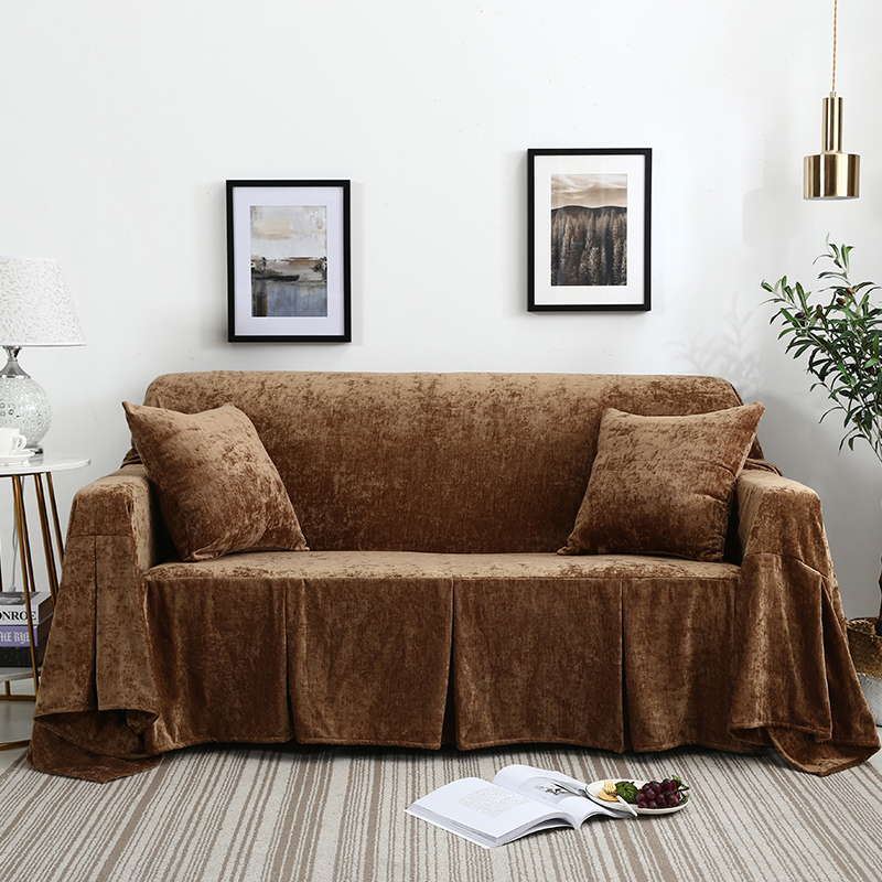 Luxury light coffee color slipcover warm plush lazy sofacover double three seat All-inclusive stretch sofa towel soft cushion