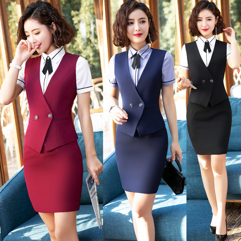 IZICFLY Summer Women Suits Skirts And Tops Vest Waistcoat Office Ladies Skirt Suit Formal Wear For Work Big Size Ropa De Oficina