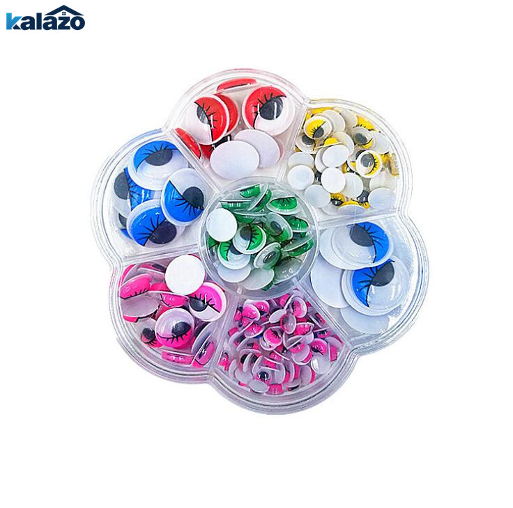 180pcs/box Mixed Multicolor Round Plastic Eyelash Eye DIY Craft Supplies Toy Dolls Scrapbooking Decorations Kids Toy