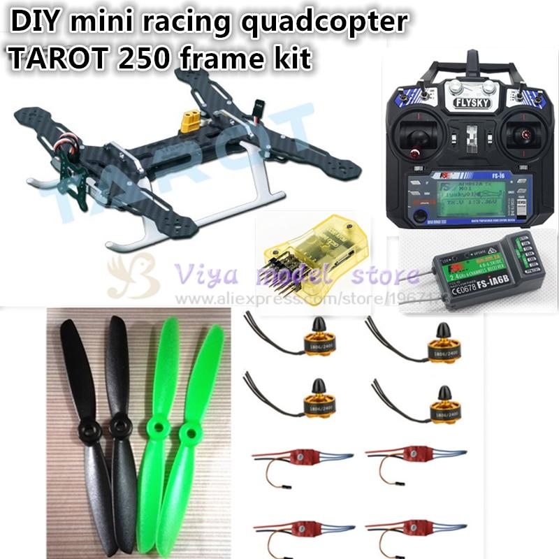 DIY FPV mini race drone Tarot 250 frame + mini CC3D+1806 2400KV motor + Simon K 12A ESC+ 5045 ABS propellers+FLYSKY FS-i6 + iA6B fpv mini drone diy zmr250 h250 quadcopter frame kit with mt1806 2280kv motor emax simon k blheli 12a esc cc3d fight control