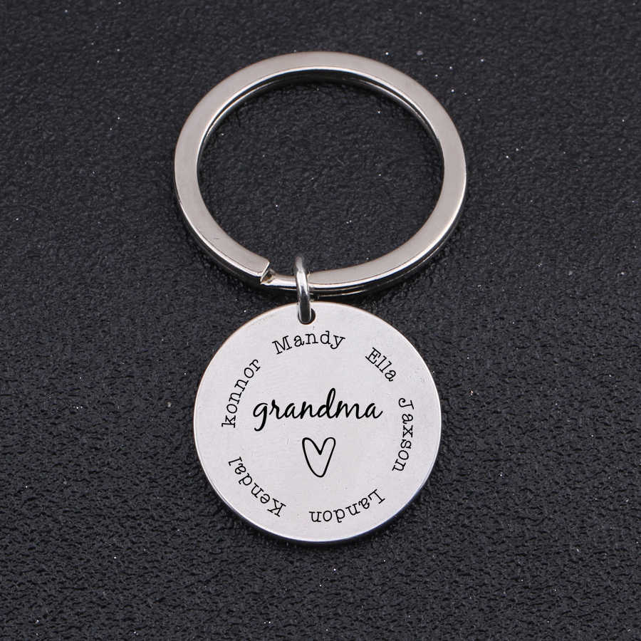 Personalized Grandma Keychain Gift for Grandmother Nana from Kids Grandkids Copper and Silver