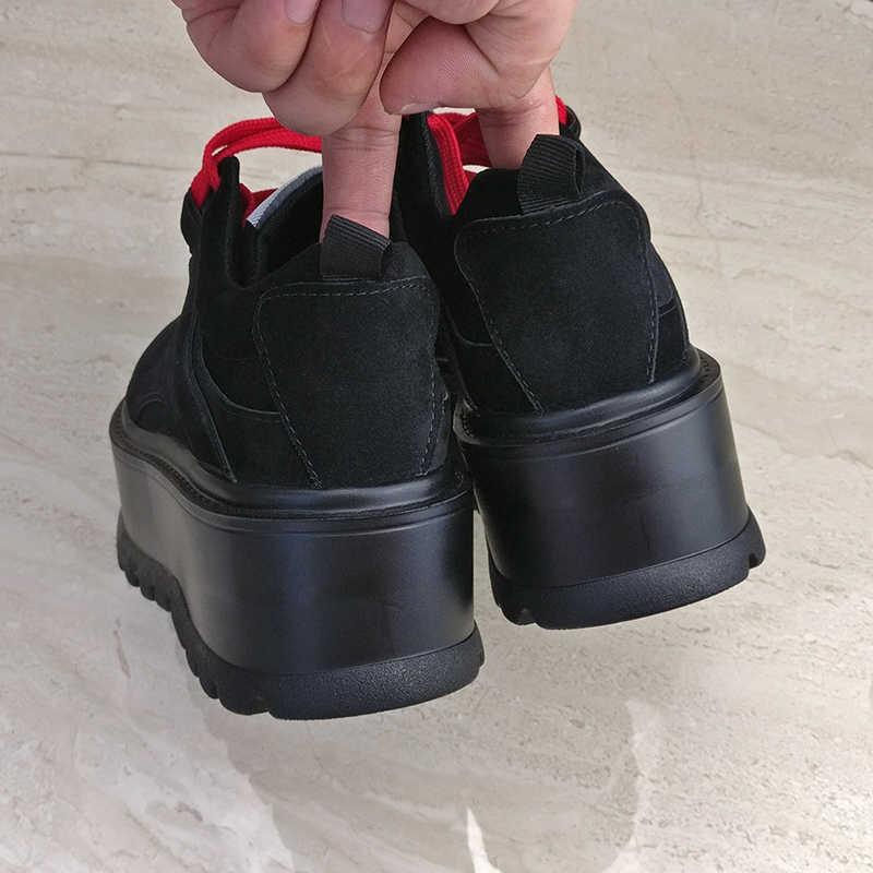 Aphixta kadın platformu yarım çizmeler ayakkabı kadın botları yüksek kalite yüksekliği artan bayanlar ayakkabı inek süet dantel-up Botas Mujer