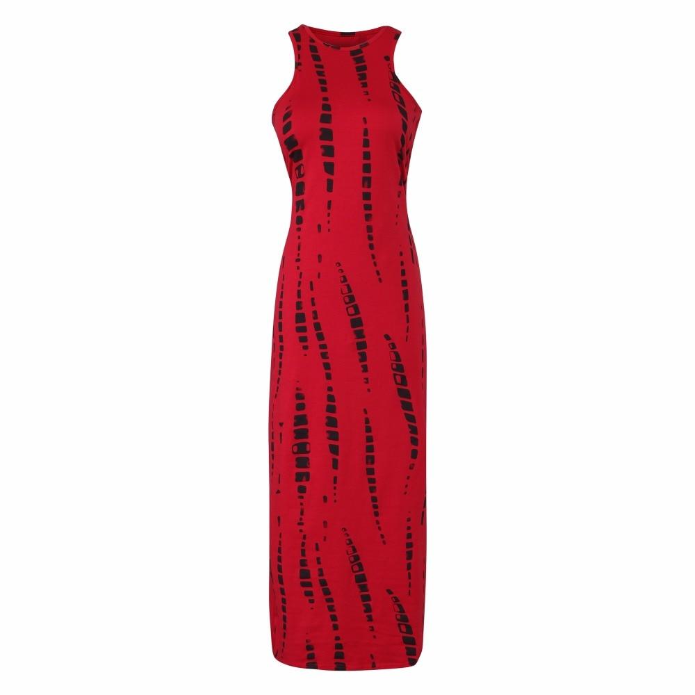 2018 Sommerkleid Ausgeschnitten Rot Weiß Sleeveless Langes Kleid ...