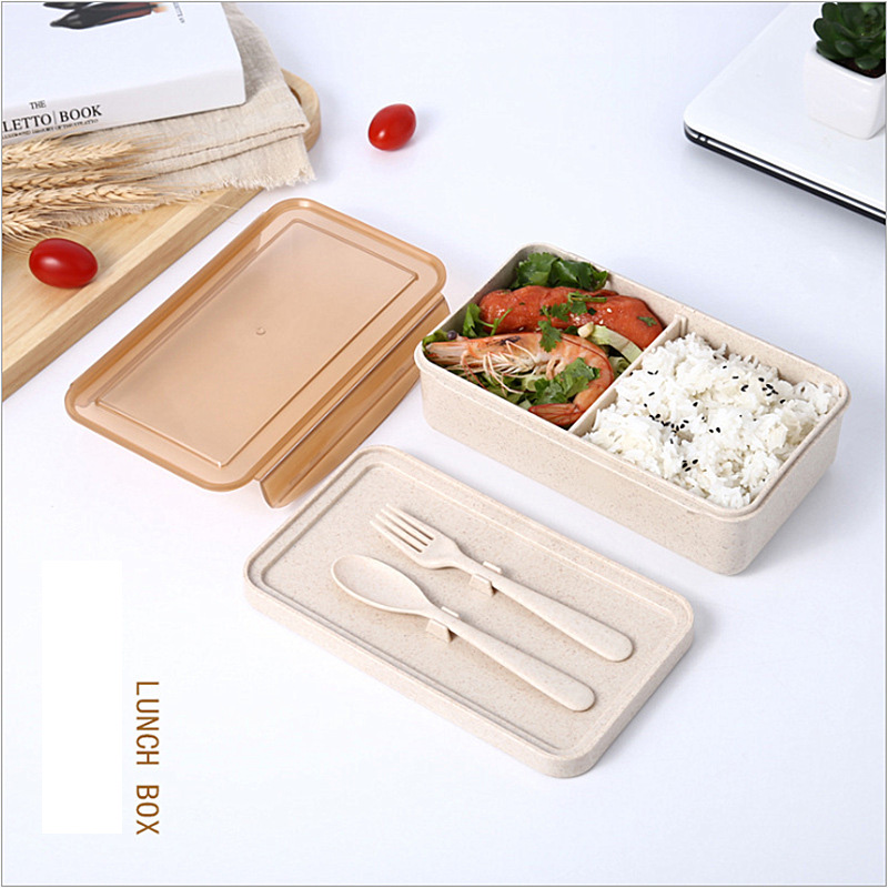 Lunch Wheat Straw Bento Box 2 Grid With Lid Microwave Food Box Biodegradable Storage Container Lunch Bento Boxes Dinnerware <font><b>Set</b></font>